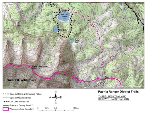 map of Gunnison - Three Lakes #843