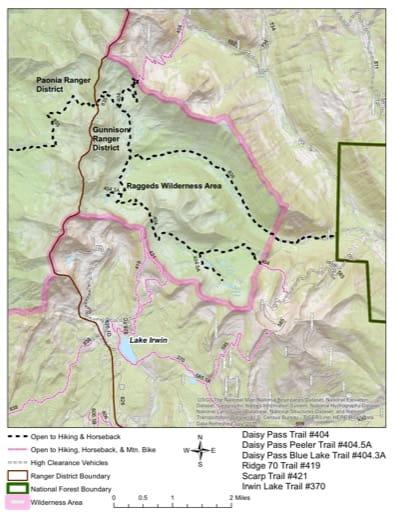 map of Gunnison - Daisy Pass #404