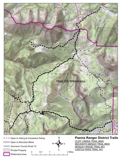 map of Gunnison - Cliff Creek #840