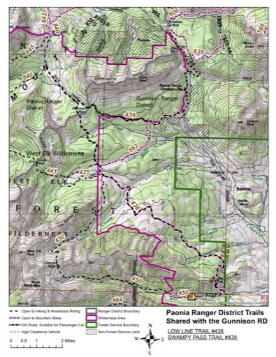 map of Gunnison - Low Line Trail #438