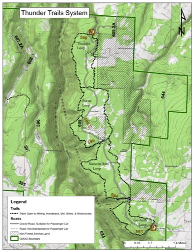 map of Uncompahgre - Thunder Trails