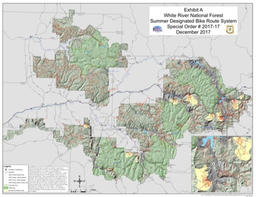 Map of the Summer Designated Bike Route System in White River National Forest (NF) in Colorado. Published by the U.S. Forest Service (USFS).,