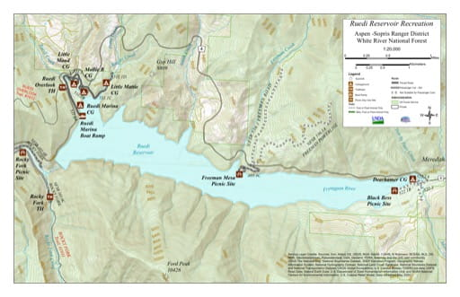 Recreation Map of Ruedi Reservoir in White River National Forest (NF) in Colorado. Published by the U.S. Forest Service (USFS).,