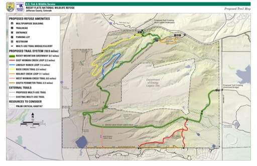 Visitor Map of Rocky Flats National Wildlife Refuge (NWR) in Colorado. Published by the U.S. Fish & Wildlife Service (USFWS).