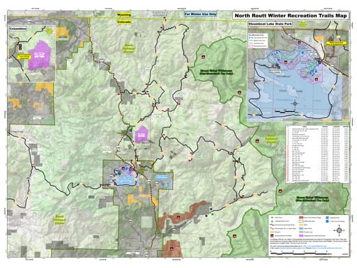 North Routt Winter Recreation Trails Map at Routt National Forest (NF) in Colorado. Published by the Northwest Colorado Snowmobile Club and the U.S. Forest Service (USFS).