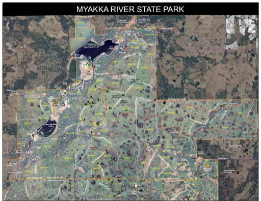 Trails Map of Myakka River State Park (SP) in Florida. Published by Florida State Parks.