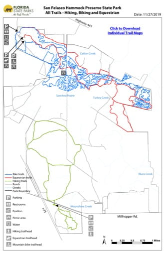 Map the Trail System in San Felasco Hammock Preserve State Park (PSP). Published by Florida State Parks.