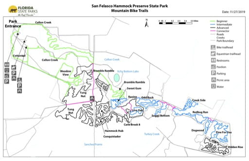 Map of the Mountain Bike Trails in San Felasco Hammock Preserve State Park (PSP). Published by Florida State Parks.