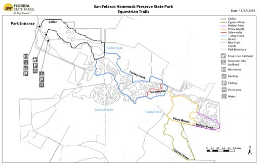 Map of the Equestrian Trails in San Felasco Hammock Preserve State Park (PSP). Published by Florida State Parks.