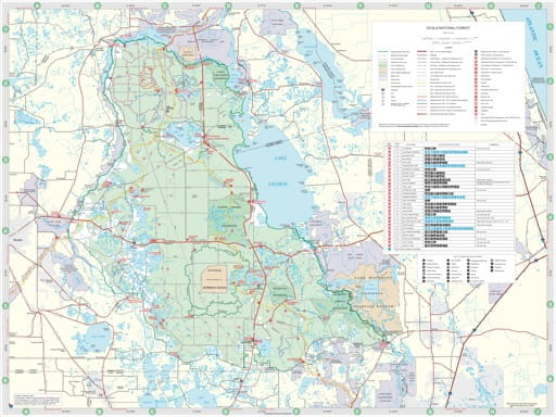 Recreation Map of Ocala National Forest (NF). Published by the U.S. Forest Service (USFS).