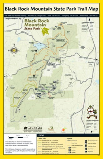 Trail Map of Black Rock Mountain State Park (SP) in Georgia. Published by Georgia State Parks & Historic Sites.