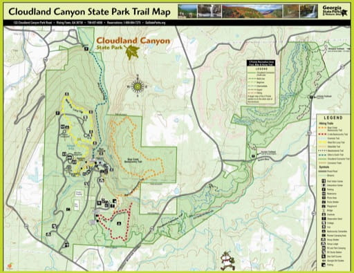 Trail Map of Cloudland Canyon State Park (SP) in Georgia. Published by Georgia State Parks & Historic Sites.