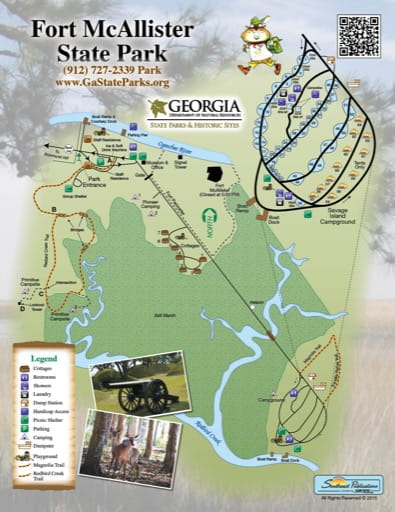 Trail Map of Fort McAllister State Park (SP) in Georgia. Published by Georgia State Parks & Historic Sites.