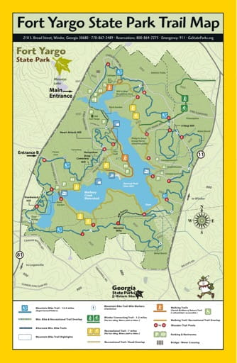 Trail Map of Fort Yargo State Park (SP) in Georgia. Published by Georgia State Parks & Historic Sites.