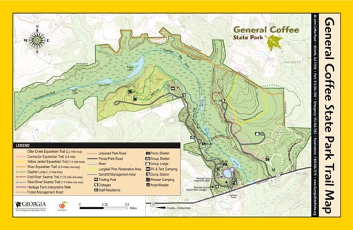 Visitor Map of General Coffee State Park (SP) in Georgia. Published by Georgia State Parks & Historic Sites.