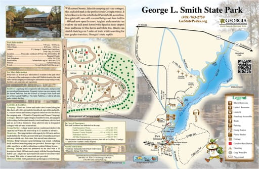 Visitor Map of George L Smith State Park (SP) in Georgia. Published by Georgia State Parks & Historic Sites.