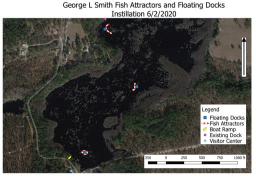 Fish Attractors and Floating Docks Installation Map of George L Smith State Park (SP) in Georgia. Published by Georgia State Parks & Historic Sites.