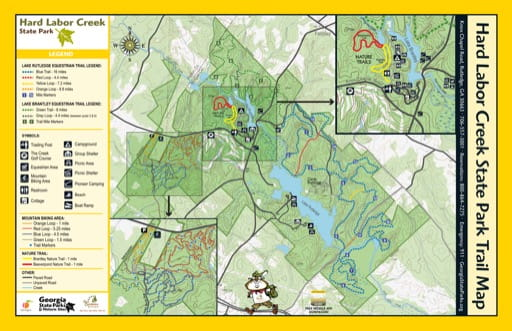 Trail Map of Hard Labor Creek State Park (SP) in Georgia. Published by Georgia State Parks & Historic Sites.