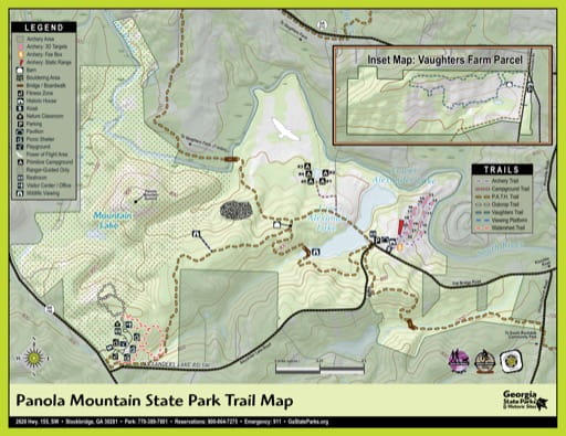 Trail Map of Panola Mountain State Park (SP) in Georgia. Published by Georgia State Parks & Historic Sites.