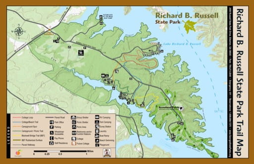 Trail Map of Richard B. Russell State Park (SP) in Georgia. Published by Georgia State Parks & Historic Sites.