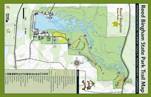 Visitor Map of Reed Bingham State Park (SP) in Georgia. Published by Georgia State Parks & Historic Sites.