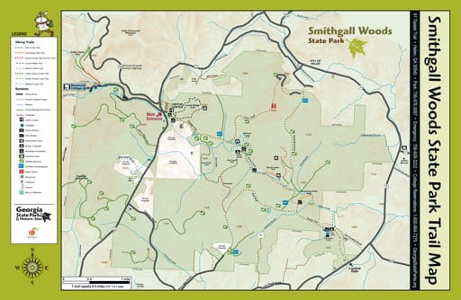 Trail Map of Smithgall Woods State Park (SP) in Georgia. Published by Georgia State Parks & Historic Sites.