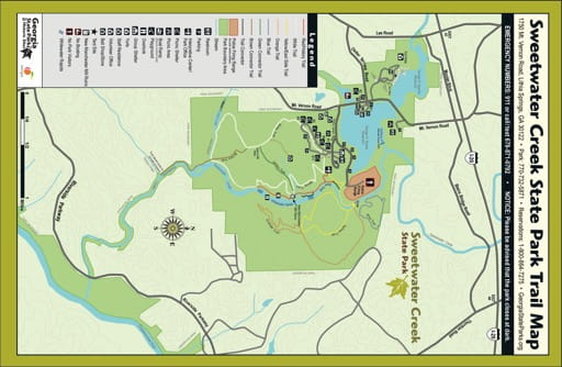 Trail Map of Sweetwater Creek State Park (SP) in Georgia. Published by Georgia State Parks & Historic Sites.