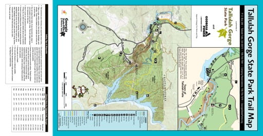 Trail Map of Tallulah Gorge State Park (SP) in Georgia. Published by Georgia State Parks & Historic Sites.