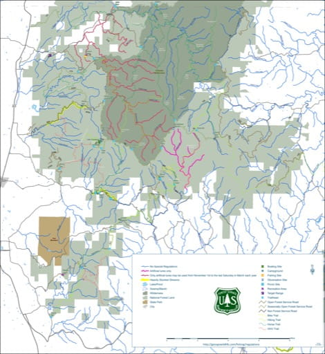 River and Stream Fishing map of the Cohutta area of Conasauga Ranger District of Chattahoochee-Oconee National Forest (NF) in Georgia. Published by the U.S. Forest Service (USFS).
