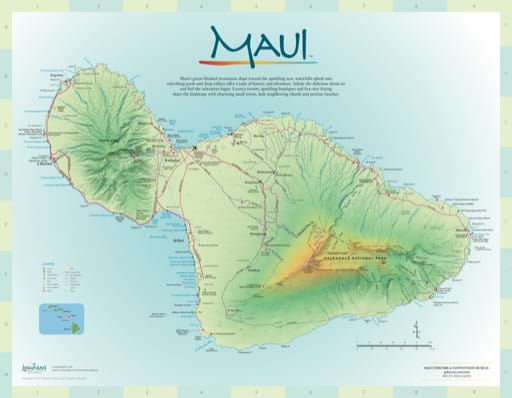 Driving Map of Maui in Hawaii. Published by the Maui Visitors & Convention Bureau.
