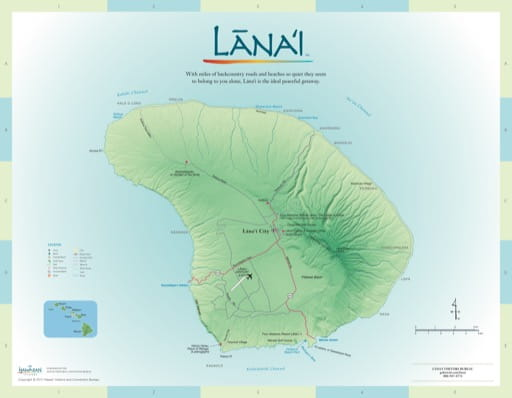 Driving Map of Lānaʻi (Lanai) in Hawaii. Published by the Hawaii Visitors & Convention Bureau.