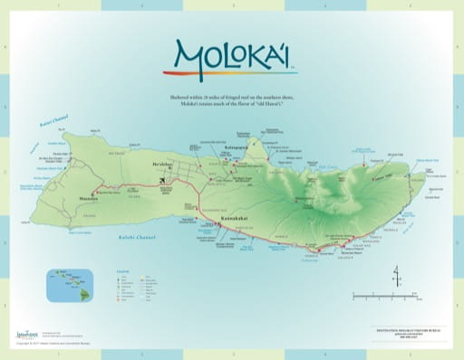 Driving Map of Moloka'i (Molokai) in Hawaii. Published by the Hawaii Visitors & Convention Bureau.