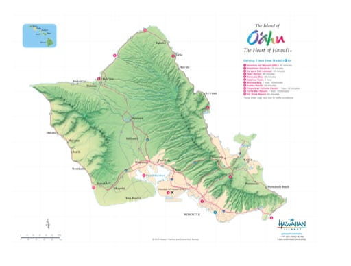 Driving Map of Oʻahu (Oahu) in Hawaii. Published by the Hawaii Visitors & Convention Bureau.