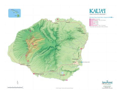 Driving Map of Kauaʻi (Kauai) in Hawaii. Published by the Hawaii Visitors & Convention Bureau.
