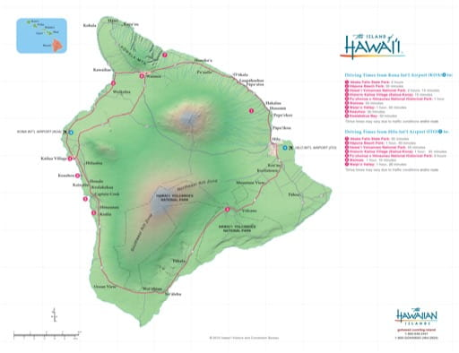 Driving Map of the Island of Hawaiʻi (Hawaii). Published by the Hawaii Tourism Authority.