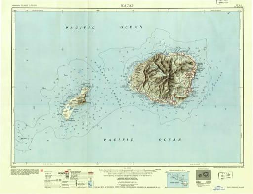Vintage map of Hawaiian Islands - Kauai 1951. Published by the U.S. Geological Survey (USGS).