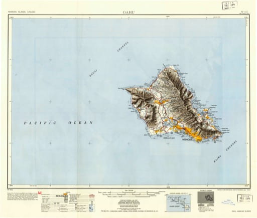 Vintage map of Hawaiian Islands - Oahu 1951. Published by the U.S. Geological Survey (USGS).
