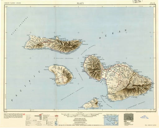 Vintage map of Hawaiian Islands - Maui 1951. Published by the U.S. Geological Survey (USGS).