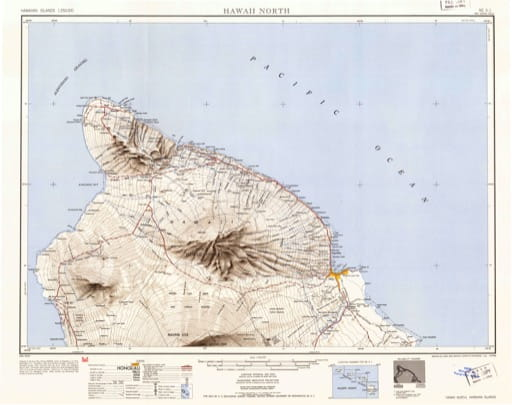 Vintage map of Hawaiian Islands - Hawaii North 1951. Published by the U.S. Geological Survey (USGS).