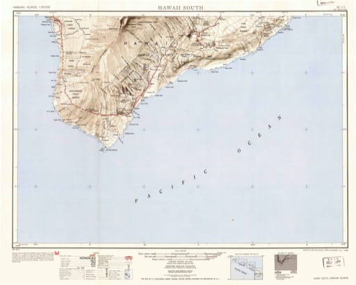 Vintage map of Hawaiian Islands - Hawaii South 1951. Published by the U.S. Geological Survey (USGS).