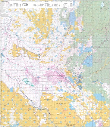 Map of the Central part of the BLM Boise District in Idaho. Published by the Bureau of Land Management (BLM).