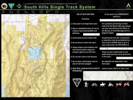 Map of South Hills Single Track System in Indaho. Published by the Bureau of Land Management (BLM).