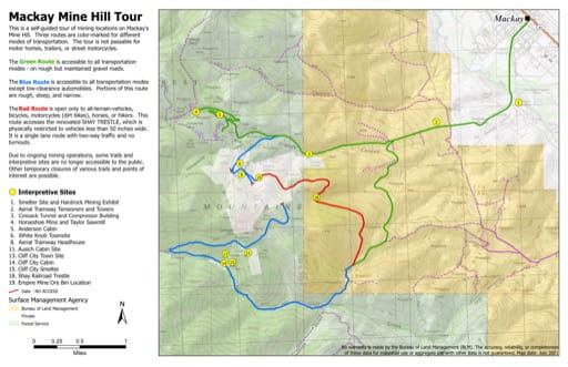 Trails Map of the Mackay Mine Hill Tour in the BLM Challis Field Office area in Idaho. Published by the Bureau of Land Management (BLM).