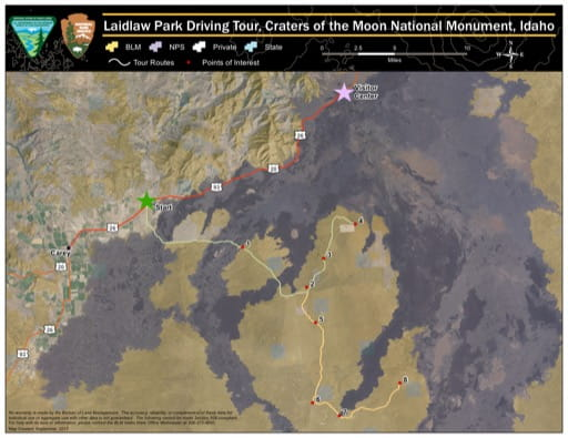 map of Craters of the Moon - Laidlaw Park Driving Tour