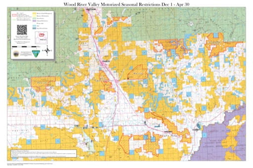 Map of Seasonal Closures between Dec 1 - Apr 30 in Wood River Valley in the Shoshone Field Office area in Idaho. Published by the Bureau of Land Management (BLM).