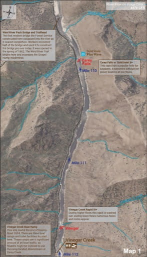 Map 1 of the Lower Salmon River Guide in Idaho. Published by the Bureau of Land Management (BLM).