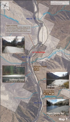 Map 7 of the Lower Salmon River Guide in Idaho. Published by the Bureau of Land Management (BLM).