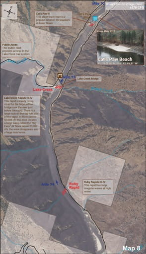 Map 8 of the Lower Salmon River Guide in Idaho. Published by the Bureau of Land Management (BLM).