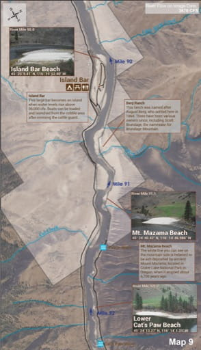 Map 9 of the Lower Salmon River Guide in Idaho. Published by the Bureau of Land Management (BLM).