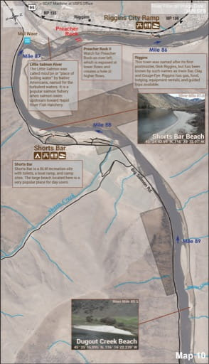 Map 10 of the Lower Salmon River Guide in Idaho. Published by the Bureau of Land Management (BLM).